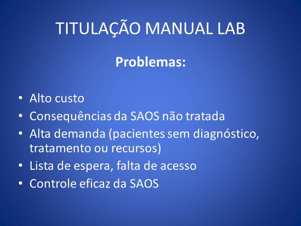 TITULAÇÃO MANUAL LAB Problemas: Alto custo Consequências da SAOS não tratada Alta demanda (pacientes sem diagnóstico, tratamento ou recursos) Lista de