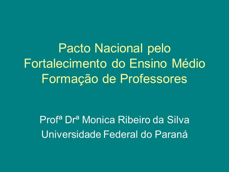 Pacto Nacional pelo Fortalecimento do Ensino Médio Formação de Professores Profª Drª Monica Ribeiro da Silva Universidade Federal do Paraná