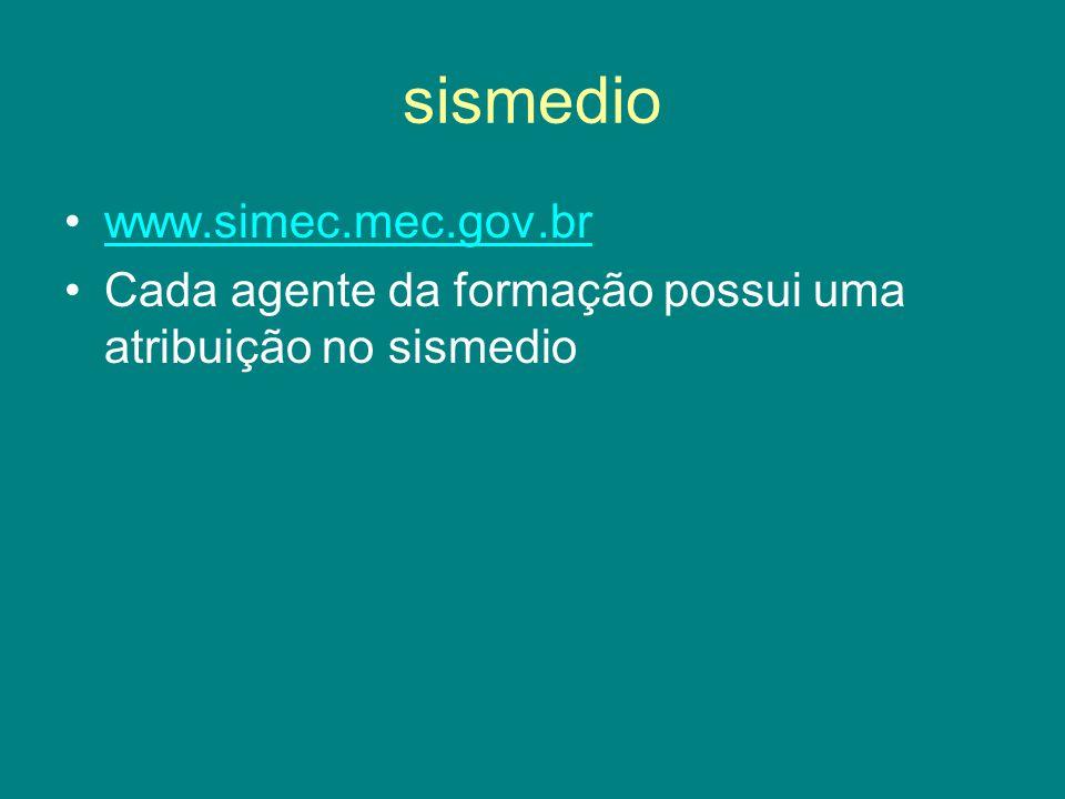 sismedio www.simec.mec.gov.br Cada agente da formação possui uma atribuição no sismedio