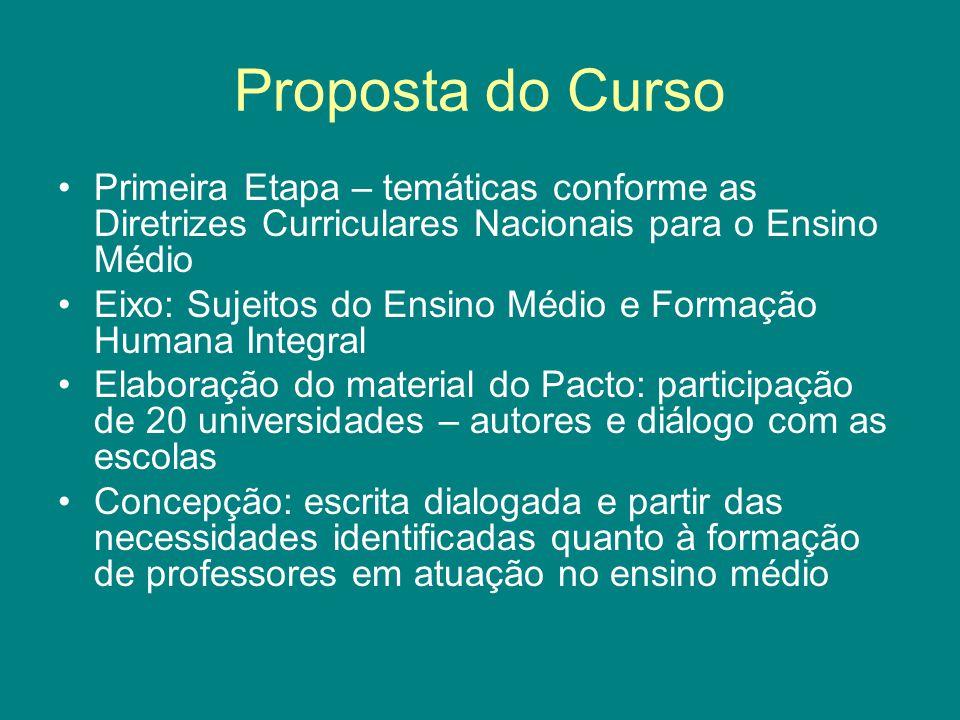 Proposta do Curso Primeira Etapa – temáticas conforme as Diretrizes Curriculares Nacionais para o Ensino Médio Eixo: Sujeitos do Ensino Médio e Formaç