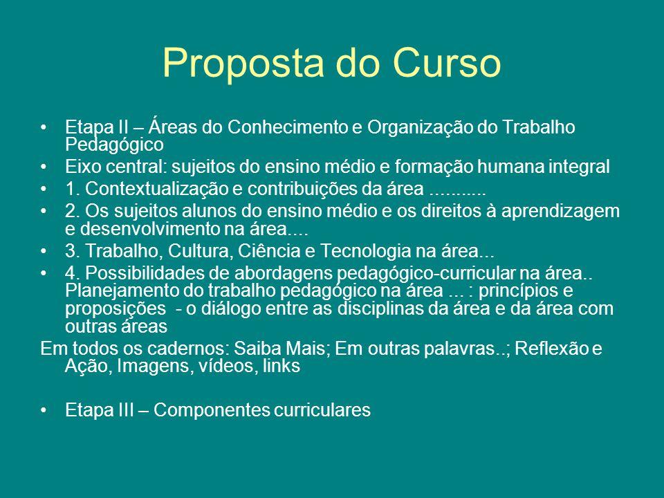 Proposta do Curso Etapa II – Áreas do Conhecimento e Organização do Trabalho Pedagógico Eixo central: sujeitos do ensino médio e formação humana integ
