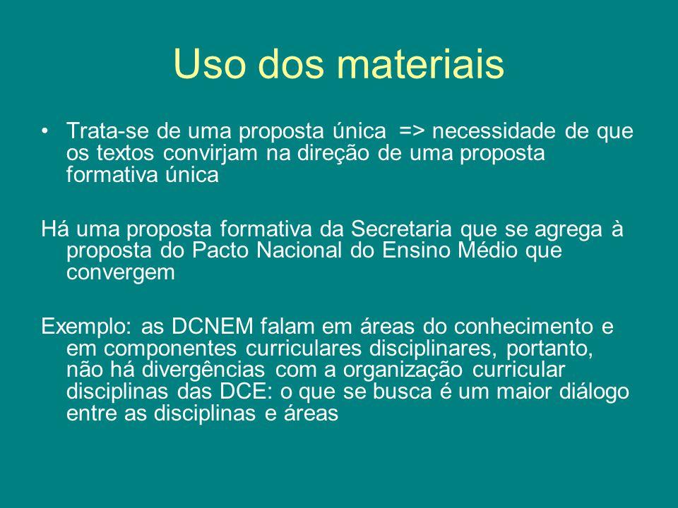 Uso dos materiais Trata-se de uma proposta única => necessidade de que os textos convirjam na direção de uma proposta formativa única Há uma proposta