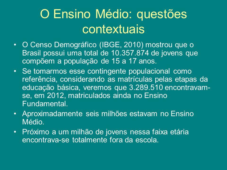 O Ensino Médio: questões contextuais O Censo Demográfico (IBGE, 2010) mostrou que o Brasil possui uma total de 10.357.874 de jovens que compõem a popu