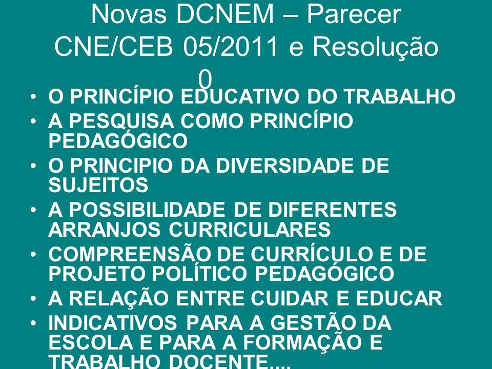 Novas DCNEM – Parecer CNE/CEB 05/2011 e Resolução 02/2012 O PRINCÍPIO EDUCATIVO DO TRABALHO A PESQUISA COMO PRINCÍPIO PEDAGÓGICO O PRINCIPIO DA DIVERS