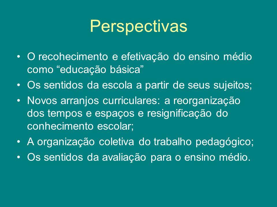 """Perspectivas O recohecimento e efetivação do ensino médio como """"educação básica"""" Os sentidos da escola a partir de seus sujeitos; Novos arranjos curri"""