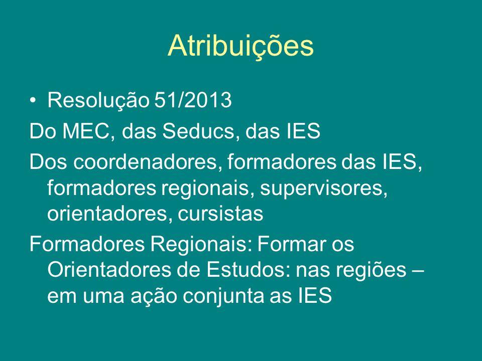 Atribuições Resolução 51/2013 Do MEC, das Seducs, das IES Dos coordenadores, formadores das IES, formadores regionais, supervisores, orientadores, cursistas Formadores Regionais: Formar os Orientadores de Estudos: nas regiões – em uma ação conjunta as IES