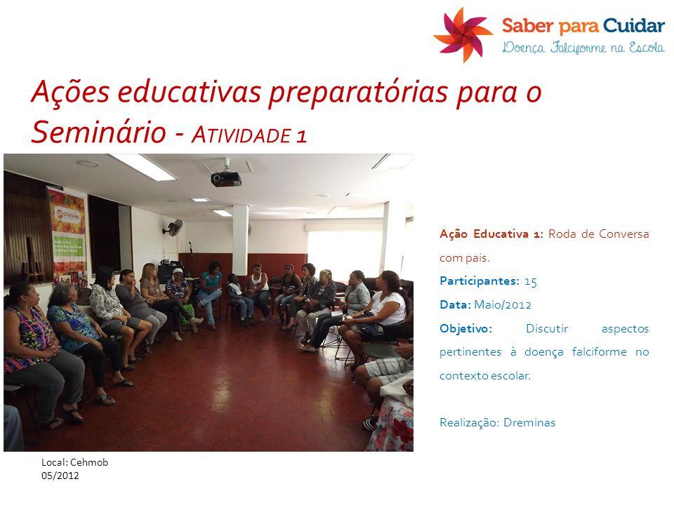 Ação Educativa 1: Roda de Conversa com pais. Participantes: 15 Data: Maio/2012 Objetivo: Discutir aspectos pertinentes à doença falciforme no contexto