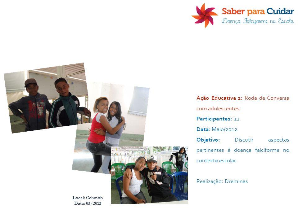 Local: Cehmob Data: 05/2012 Ação Educativa 2: Roda de Conversa com adolescentes. Participantes: 11 Data: Maio/2012 Objetivo: Discutir aspectos pertine