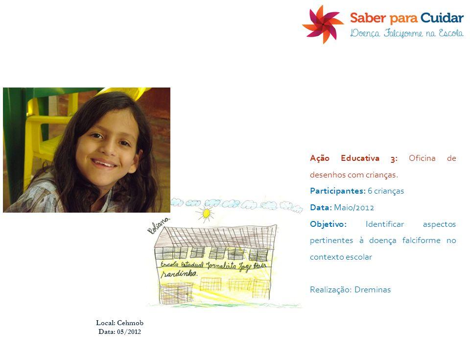 Local: Cehmob Data: 05/2012 Ação Educativa 3: Oficina de desenhos com crianças. Participantes: 6 crianças Data: Maio/2012 Objetivo: Identificar aspect