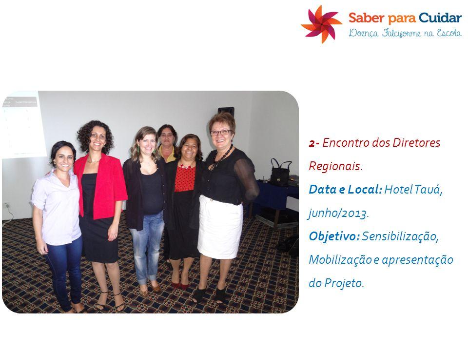 2- Encontro dos Diretores Regionais. Data e Local: Hotel Tauá, junho/2013. Objetivo: Sensibilização, Mobilização e apresentação do Projeto.