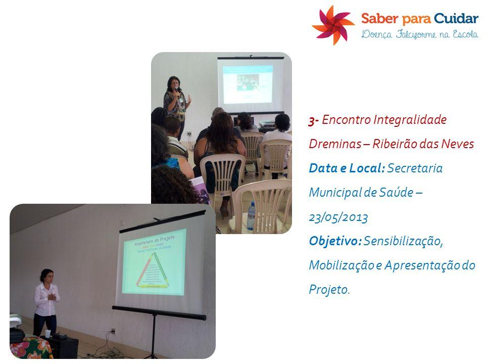 3- Encontro Integralidade Dreminas – Ribeirão das Neves Data e Local: Secretaria Municipal de Saúde – 23/05/2013 Objetivo: Sensibilização, Mobilização