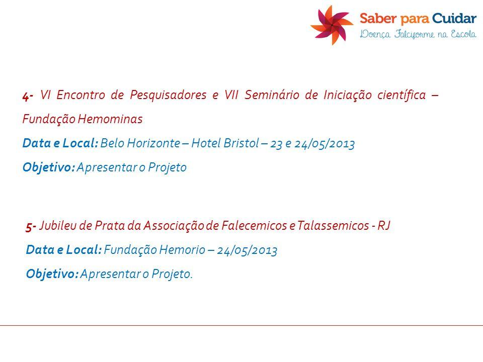 4- VI Encontro de Pesquisadores e VII Seminário de Iniciação científica – Fundação Hemominas Data e Local: Belo Horizonte – Hotel Bristol – 23 e 24/05