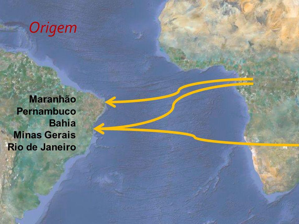 Origem Maranhão Pernambuco Bahia Minas Gerais Rio de Janeiro