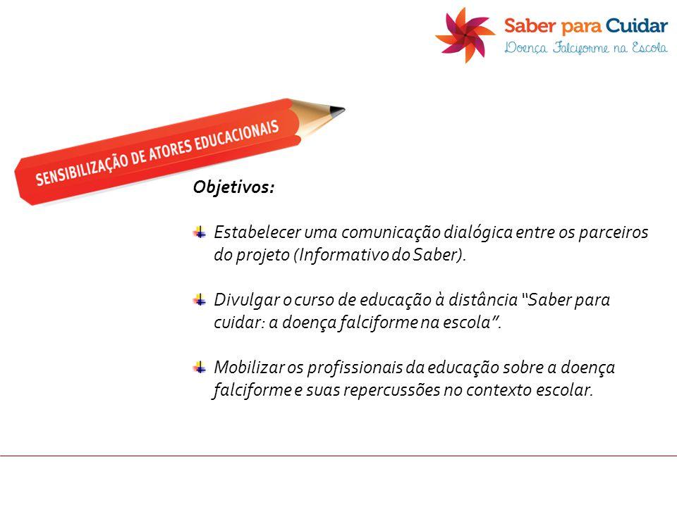 """Objetivos: Estabelecer uma comunicação dialógica entre os parceiros do projeto (Informativo do Saber). Divulgar o curso de educação à distância """"Saber"""