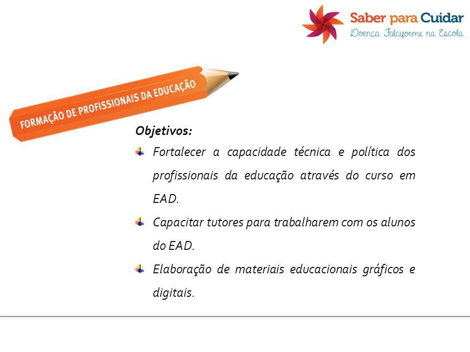 Objetivos: Fortalecer a capacidade técnica e política dos profissionais da educação através do curso em EAD. Capacitar tutores para trabalharem com os