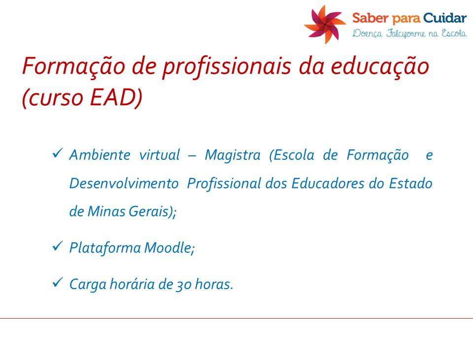 Ambiente virtual – Magistra (Escola de Formação e Desenvolvimento Profissional dos Educadores do Estado de Minas Gerais); Plataforma Moodle; Carga hor