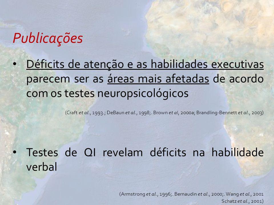 Déficits de atenção e as habilidades executivas parecem ser as áreas mais afetadas de acordo com os testes neuropsicológicos (Craft et al., 1993.; DeB
