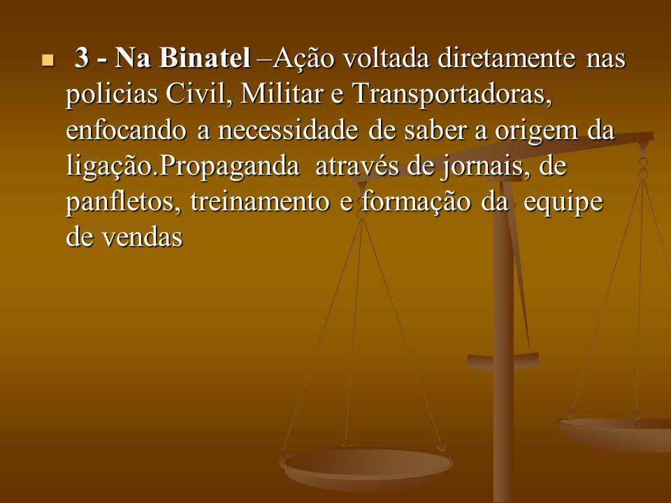 3 - Na Binatel –Ação voltada diretamente nas policias Civil, Militar e Transportadoras, enfocando a necessidade de saber a origem da ligação.Propagand