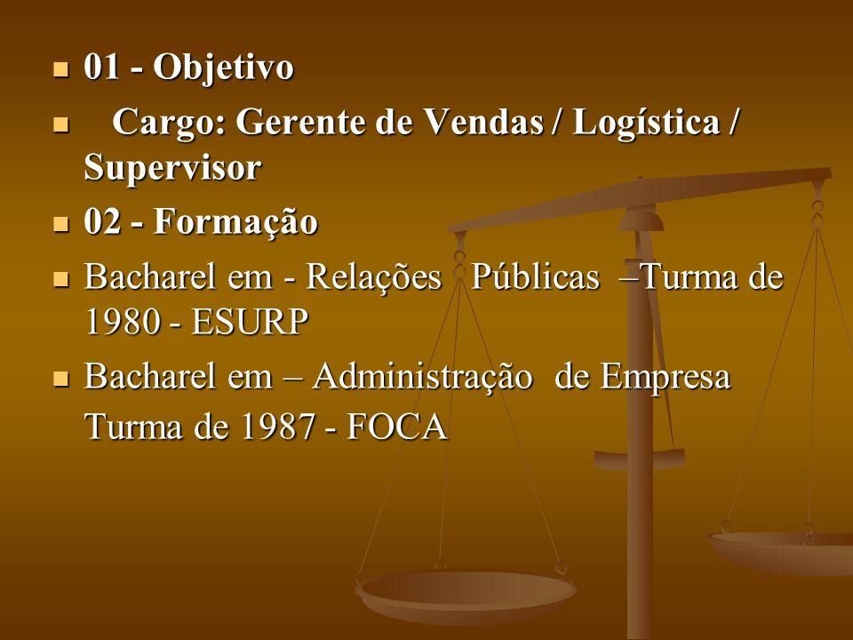01 - Objetivo 01 - Objetivo Cargo: Gerente de Vendas / Logística / Supervisor Cargo: Gerente de Vendas / Logística / Supervisor 02 - Formação 02 - For