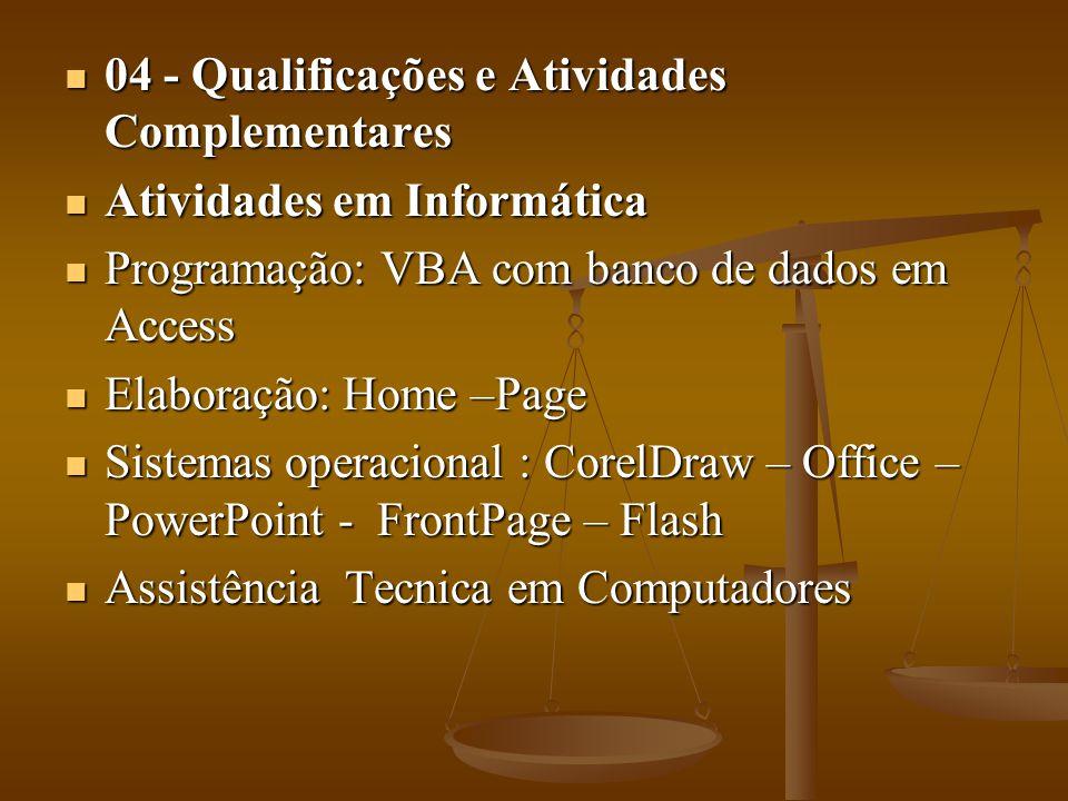 04 - Qualificações e Atividades Complementares 04 - Qualificações e Atividades Complementares Atividades em Informática Atividades em Informática Prog