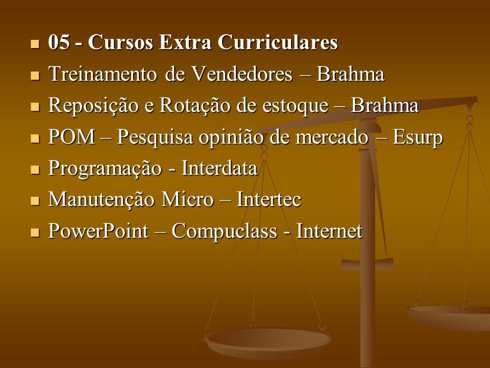 05 - Cursos Extra Curriculares 05 - Cursos Extra Curriculares Treinamento de Vendedores – Brahma Treinamento de Vendedores – Brahma Reposição e Rotaçã