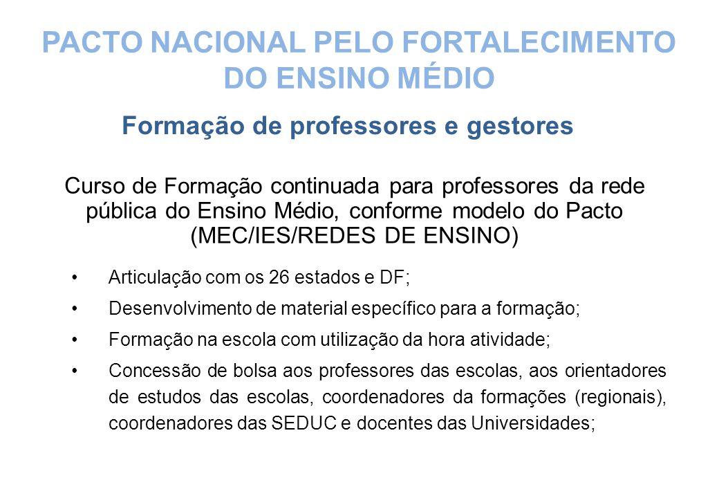 Curso de Formação continuada para professores da rede pública do Ensino Médio, conforme modelo do Pacto (MEC/IES/REDES DE ENSINO) Articulação com os 2
