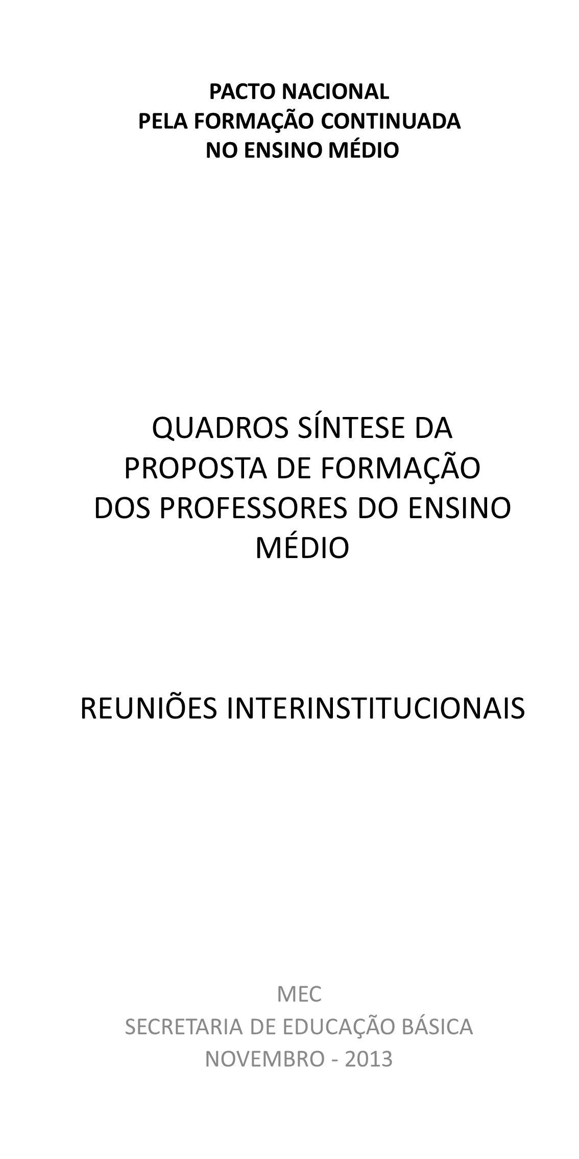 QUADROS SÍNTESE DA PROPOSTA DE FORMAÇÃO DOS PROFESSORES DO ENSINO MÉDIO REUNIÕES INTERINSTITUCIONAIS MEC SECRETARIA DE EDUCAÇÃO BÁSICA NOVEMBRO - 2013