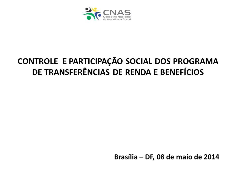 CONTROLE E PARTICIPAÇÃO SOCIAL DOS PROGRAMA DE TRANSFERÊNCIAS DE RENDA E BENEFÍCIOS Brasília – DF, 08 de maio de 2014
