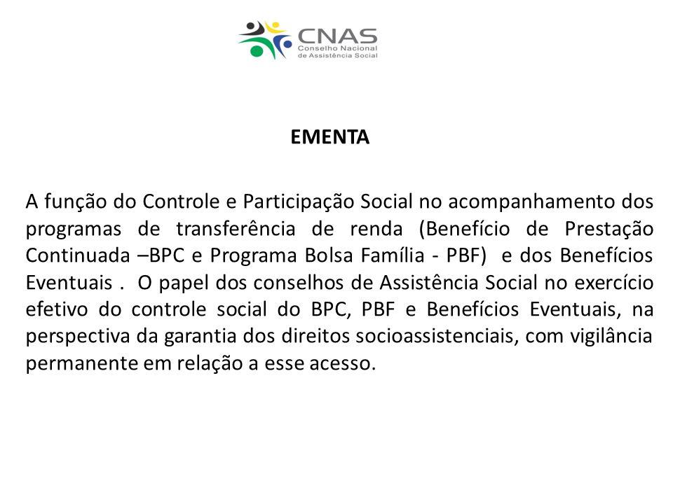 EMENTA A função do Controle e Participação Social no acompanhamento dos programas de transferência de renda (Benefício de Prestação Continuada –BPC e Programa Bolsa Família - PBF) e dos Benefícios Eventuais.
