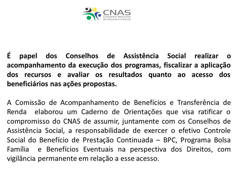 É papel dos Conselhos de Assistência Social realizar o acompanhamento da execução dos programas, fiscalizar a aplicação dos recursos e avaliar os resultados quanto ao acesso dos beneficiários nas ações propostas.