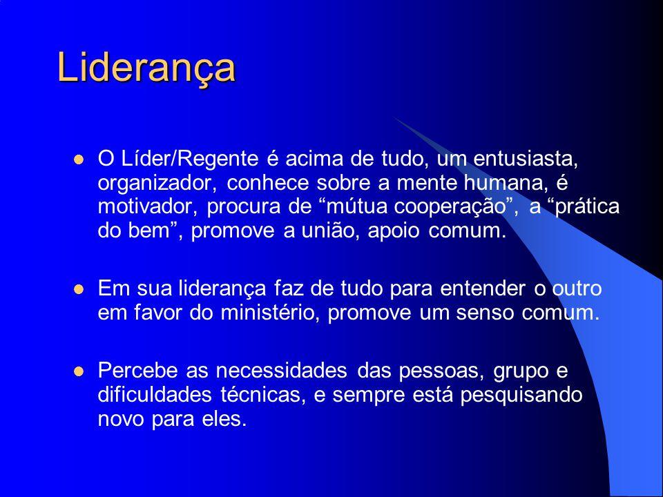"""Liderança O Líder/Regente é acima de tudo, um entusiasta, organizador, conhece sobre a mente humana, é motivador, procura de """"mútua cooperação"""", a """"pr"""