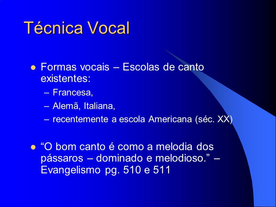 """Técnica Vocal Formas vocais – Escolas de canto existentes: –Francesa, –Alemã, Italiana, –recentemente a escola Americana (séc. XX) """"O bom canto é como"""