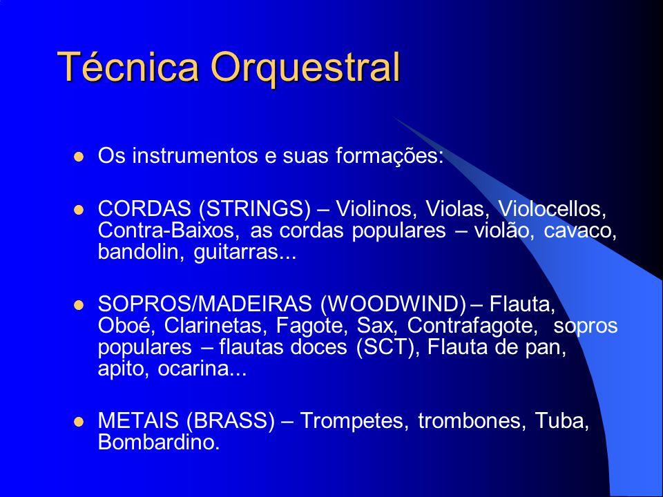 Técnica Orquestral Os instrumentos e suas formações: CORDAS (STRINGS) – Violinos, Violas, Violocellos, Contra-Baixos, as cordas populares – violão, ca