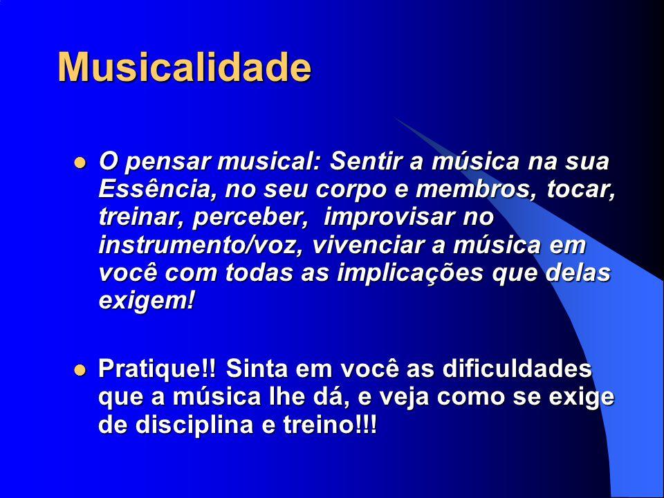 Musicalidade O pensar musical: Sentir a música na sua Essência, no seu corpo e membros, tocar, treinar, perceber, improvisar no instrumento/voz, viven