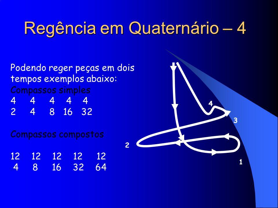 Regência em Quaternário – 4 Podendo reger peças em dois tempos exemplos abaixo: Compassos simples 4 4 4 4 4 2 4 8 16 32 Compassos compostos 12 12 12 1