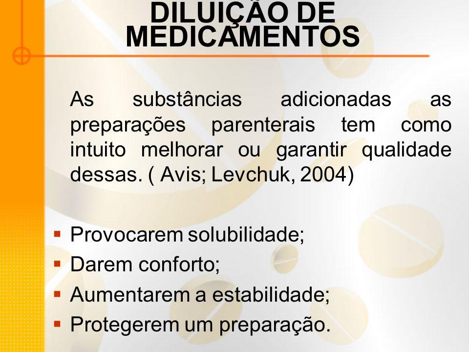DILUIÇÃO DE MEDICAMENTOS As substâncias adicionadas as preparações parenterais tem como intuito melhorar ou garantir qualidade dessas.