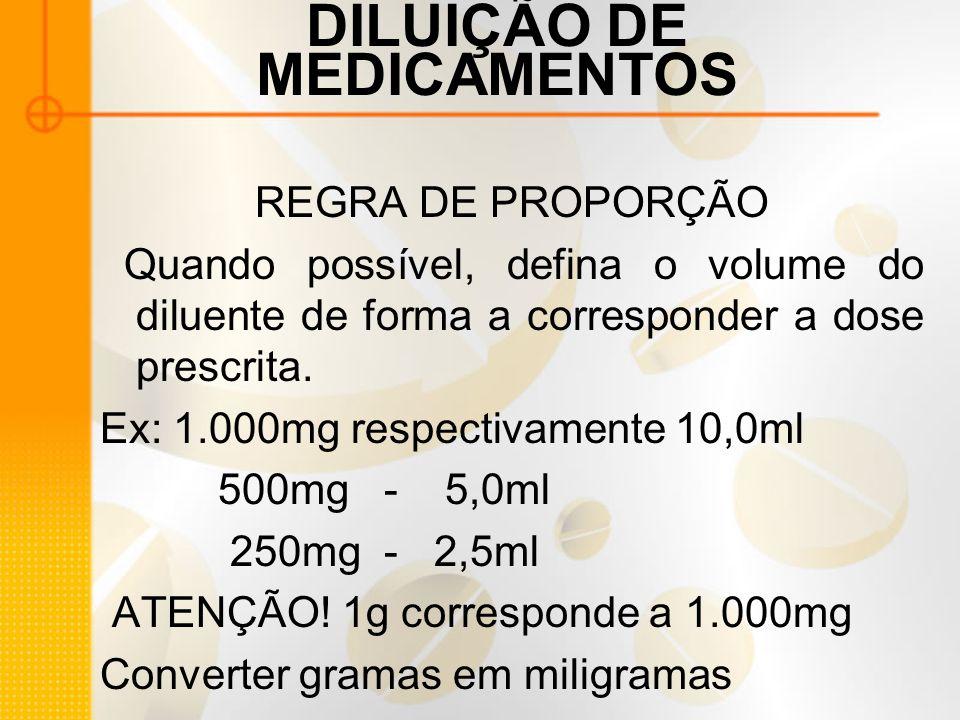DILUIÇÃO DE MEDICAMENTOS REGRA DE PROPORÇÃO Quando possível, defina o volume do diluente de forma a corresponder a dose prescrita.