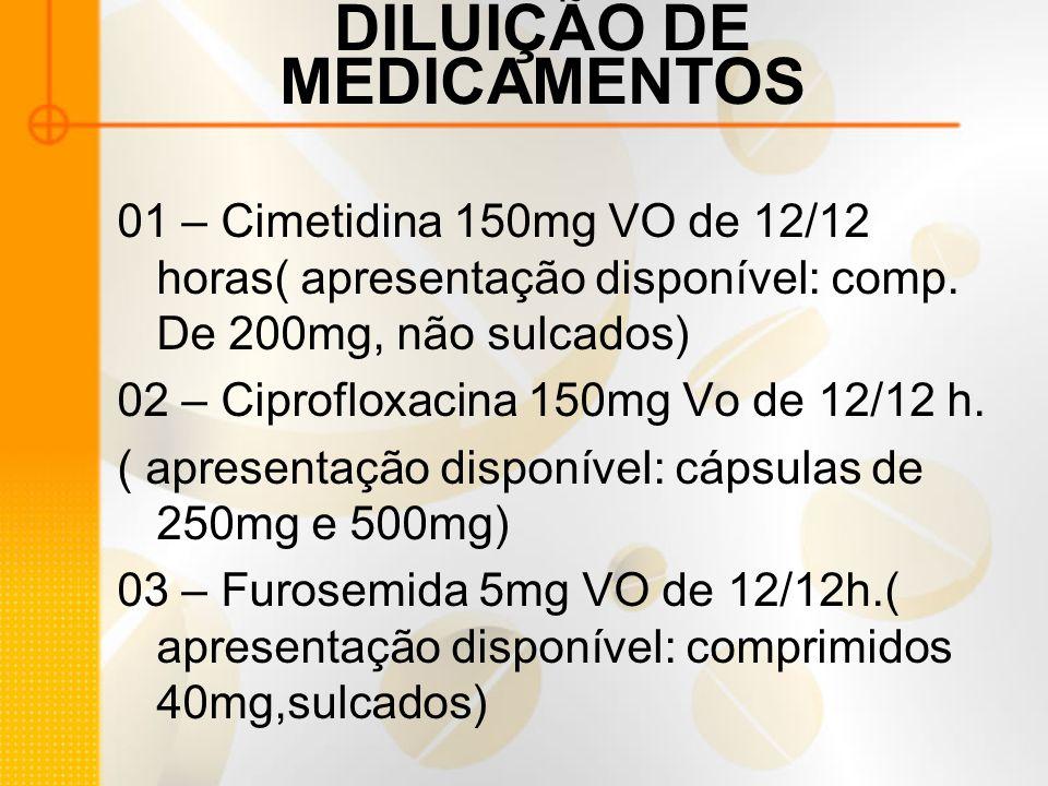 DILUIÇÃO DE MEDICAMENTOS 01 – Cimetidina 150mg VO de 12/12 horas( apresentação disponível: comp.