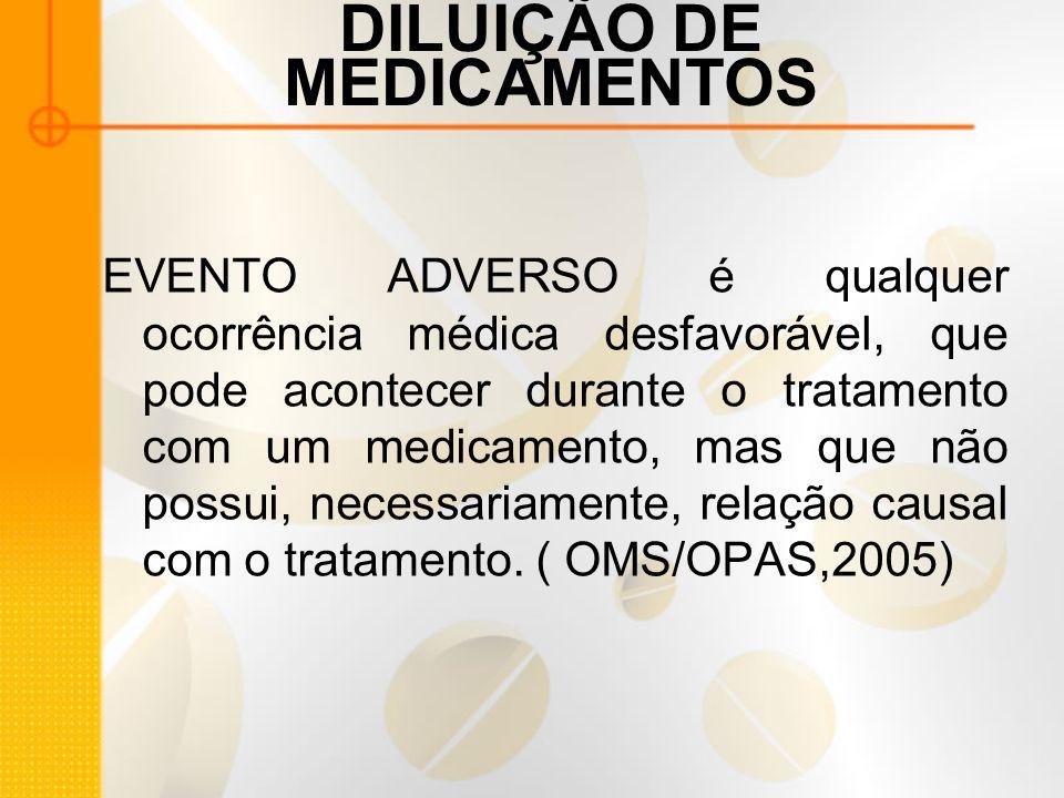 DILUIÇÃO DE MEDICAMENTOS EVENTO ADVERSO é qualquer ocorrência médica desfavorável, que pode acontecer durante o tratamento com um medicamento, mas que não possui, necessariamente, relação causal com o tratamento.