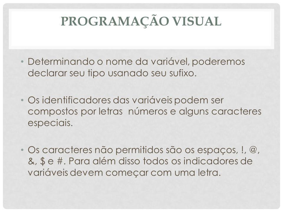 PROGRAMAÇÃO VISUAL CostPerUnit = 5 Markup = 1.05 X = yes MsgBox The Gross Profit for CD Sales is $ & (SalesPrice _ * UnitsSold) -(UnitsSold * CostPerUnit * Markup) Displays the value of 7000 as the gross profit End Sub