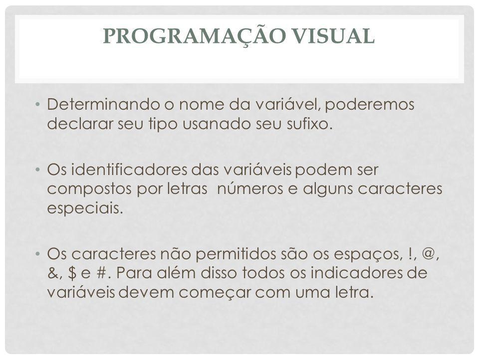 PROGRAMAÇÃO VISUAL Determinando o nome da variável, poderemos declarar seu tipo usanado seu sufixo. Os identificadores das variáveis podem ser compost