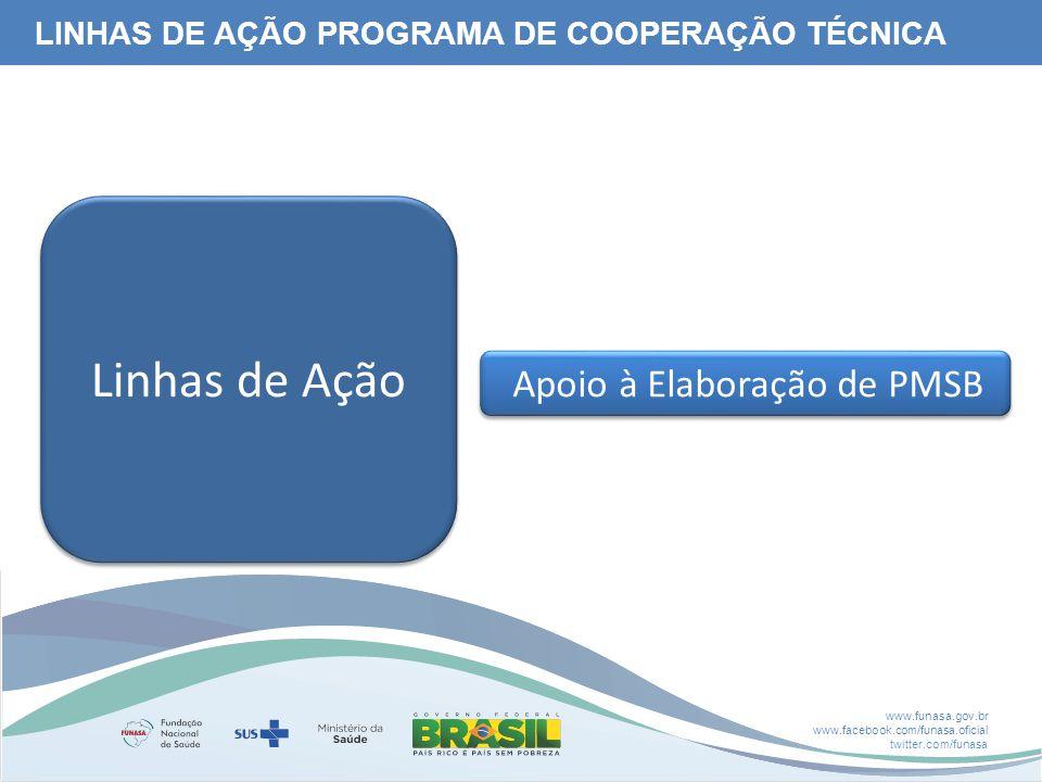 www.funasa.gov.br www.facebook.com/funasa.oficial twitter.com/funasa Apoio à Elaboração de PMSB Linhas de Ação LINHAS DE AÇÃO PROGRAMA DE COOPERAÇÃO TÉCNICA