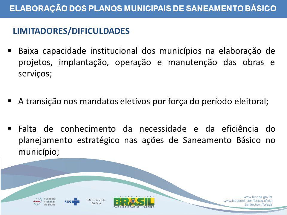 www.funasa.gov.br www.facebook.com/funasa.oficial twitter.com/funasa ELABORAÇÃO DOS PLANOS MUNICIPAIS DE SANEAMENTO BÁSICO LIMITADORES/DIFICULDADES 