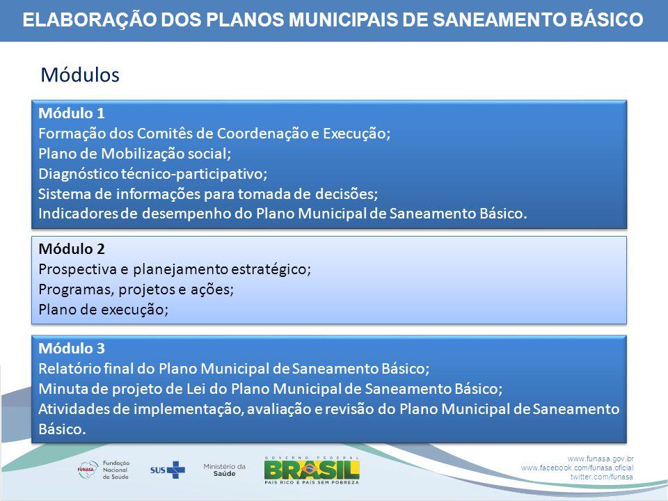 www.funasa.gov.br www.facebook.com/funasa.oficial twitter.com/funasa ELABORAÇÃO DOS PLANOS MUNICIPAIS DE SANEAMENTO BÁSICO Módulos Módulo 1 Formação dos Comitês de Coordenação e Execução; Plano de Mobilização social; Diagnóstico técnico-participativo; Sistema de informações para tomada de decisões; Indicadores de desempenho do Plano Municipal de Saneamento Básico.