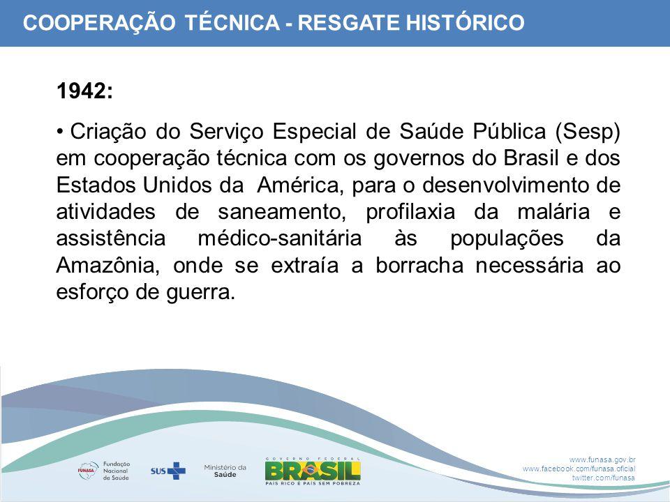 www.funasa.gov.br www.facebook.com/funasa.oficial twitter.com/funasa 1942: Criação do Serviço Especial de Saúde Pública (Sesp) em cooperação técnica c