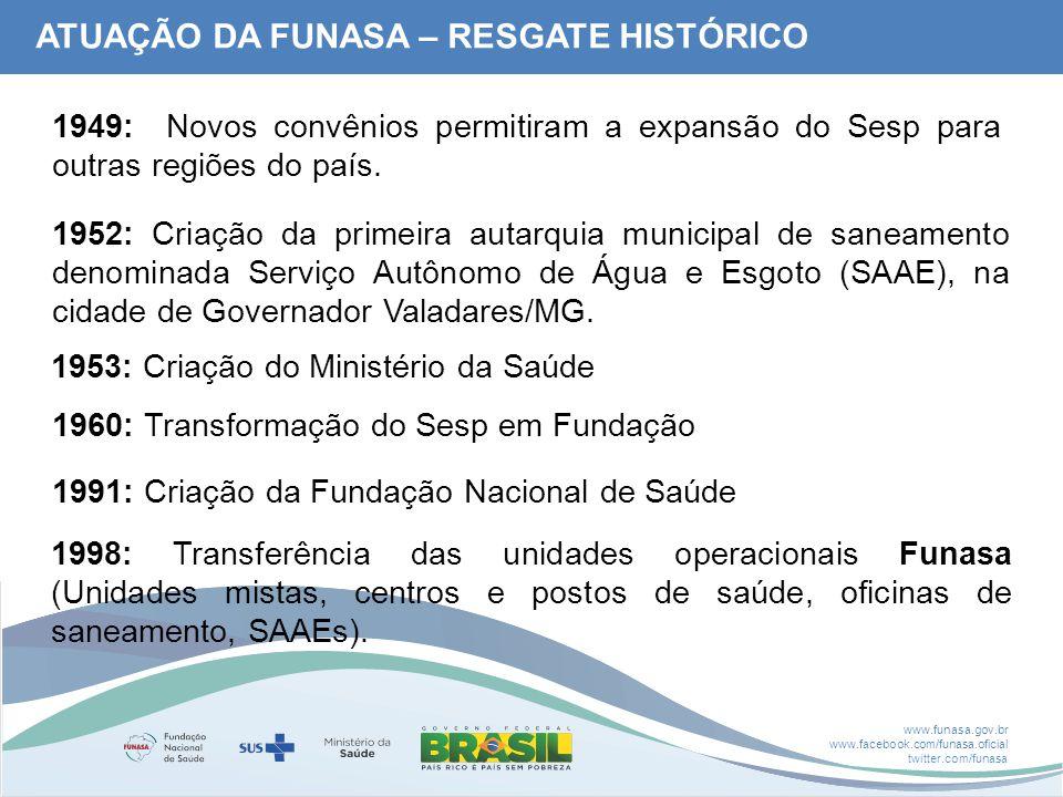 www.funasa.gov.br www.facebook.com/funasa.oficial twitter.com/funasa 1949: Novos convênios permitiram a expansão do Sesp para outras regiões do país.