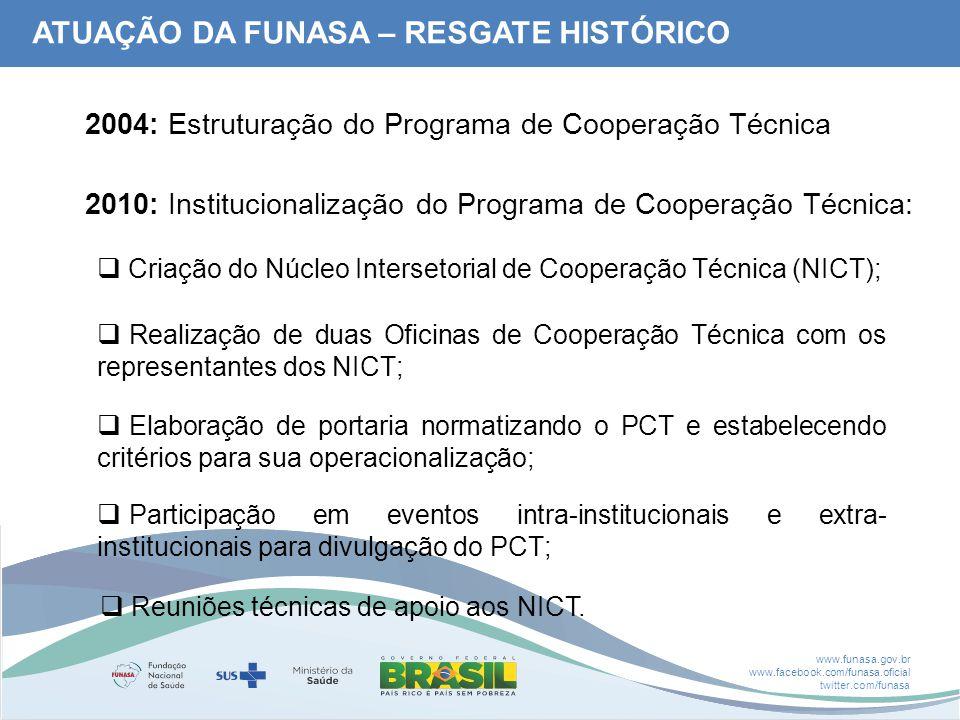 www.funasa.gov.br www.facebook.com/funasa.oficial twitter.com/funasa 2010: Institucionalização do Programa de Cooperação Técnica:  Criação do Núcleo