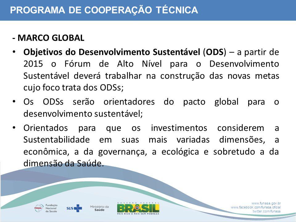 www.funasa.gov.br www.facebook.com/funasa.oficial twitter.com/funasa - MARCO GLOBAL Objetivos do Desenvolvimento Sustentável (ODS) – a partir de 2015 o Fórum de Alto Nível para o Desenvolvimento Sustentável deverá trabalhar na construção das novas metas cujo foco trata dos ODSs; Os ODSs serão orientadores do pacto global para o desenvolvimento sustentável; Orientados para que os investimentos considerem a Sustentabilidade em suas mais variadas dimensões, a econômica, a da governança, a ecológica e sobretudo a da dimensão da Saúde.