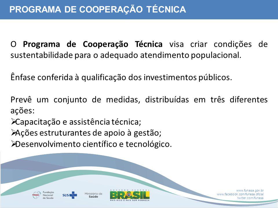 www.funasa.gov.br www.facebook.com/funasa.oficial twitter.com/funasa PROGRAMA DE COOPERAÇÃO TÉCNICA O Programa de Cooperação Técnica visa criar condições de sustentabilidade para o adequado atendimento populacional.