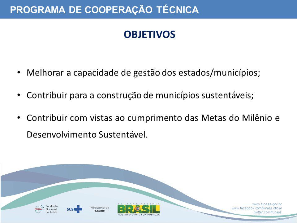 www.funasa.gov.br www.facebook.com/funasa.oficial twitter.com/funasa Melhorar a capacidade de gestão dos estados/municípios; Contribuir para a construção de municípios sustentáveis; Contribuir com vistas ao cumprimento das Metas do Milênio e Desenvolvimento Sustentável.